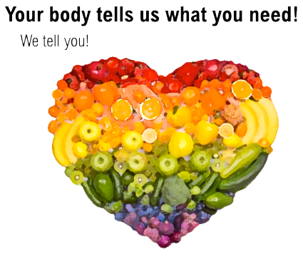 Your body tells us what you need! Heart made of foods